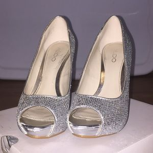 aldo Shoes - Aldo Silver sparkly platform stilletos Nean
